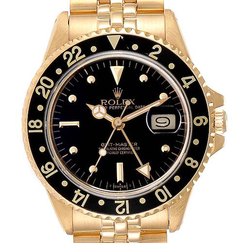 Photo of Rolex GMT Master Transitional 18k Yellow Gold Mens Watch 16758