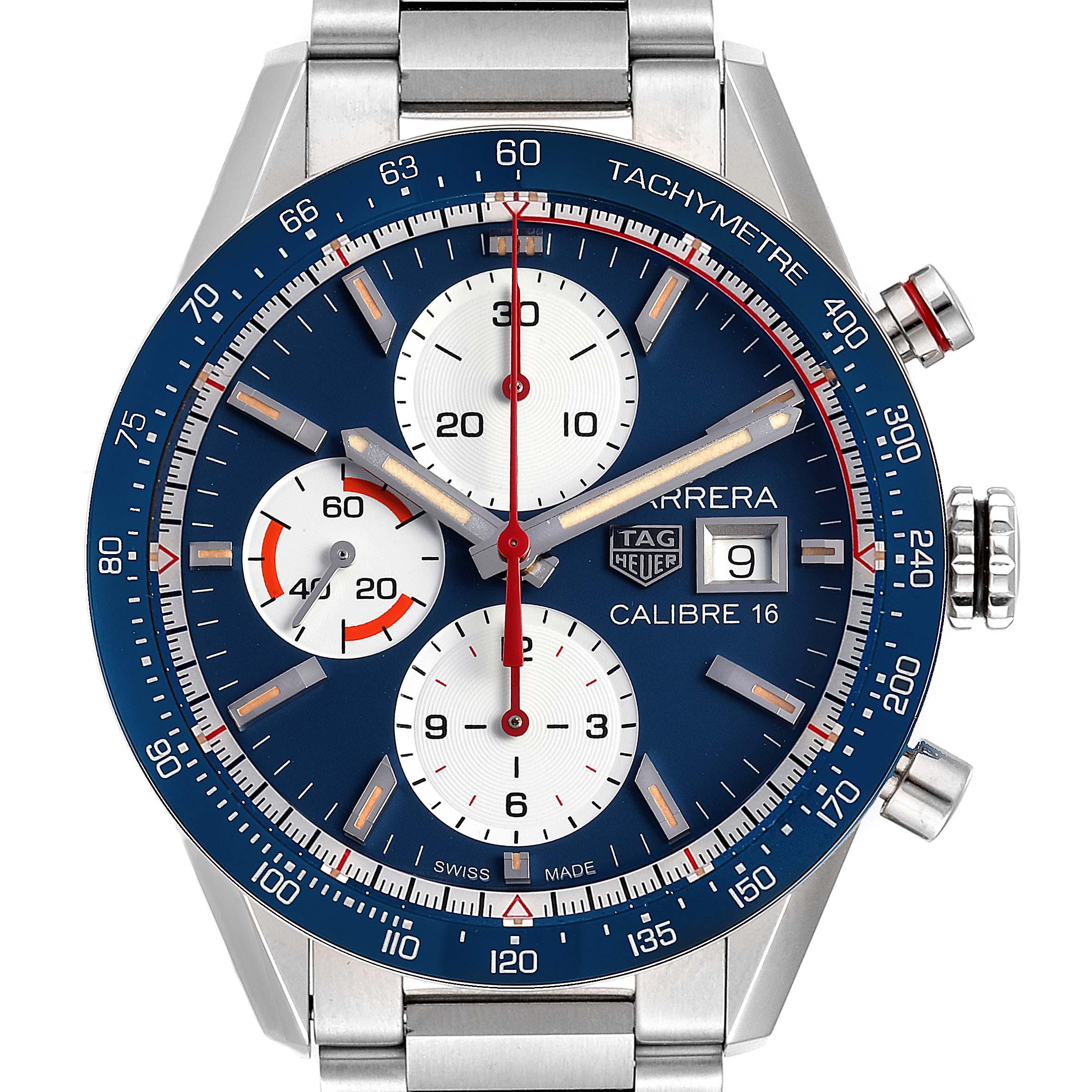 Tag Heuer Carrera Calibre 16 Chronograph Steel Mens Watch CV201AR SwissWatchExpo