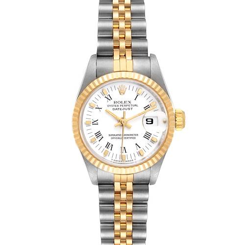 Photo of Rolex Datejust Steel Yellow Gold White Roman Dial Ladies Watch 69173