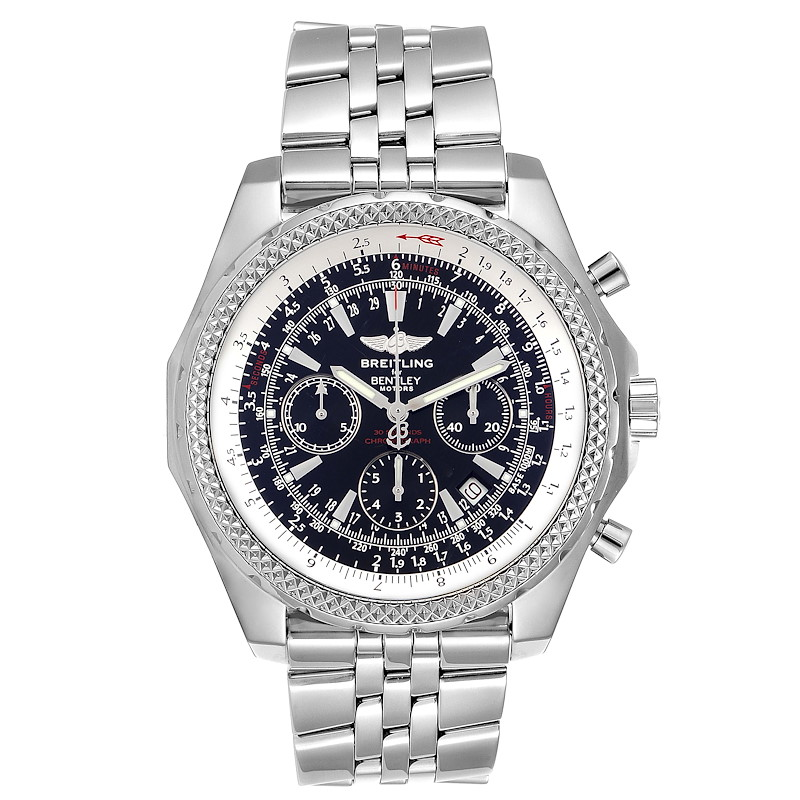 Breitling Bentley Motors Black Dial Chronograph Steel Mens Watch A25362 SwissWatchExpo