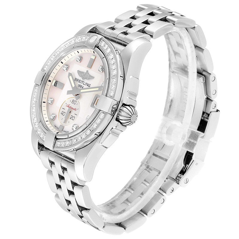 Breitling Galactic 36 Mother of Pearl Diamond Steel Ladies Watch A37330 SwissWatchExpo