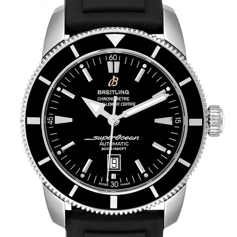 Breitling Superocean Heritage 46 Black Dial Rubber Strap Watch A17320 SwissWatchExpo