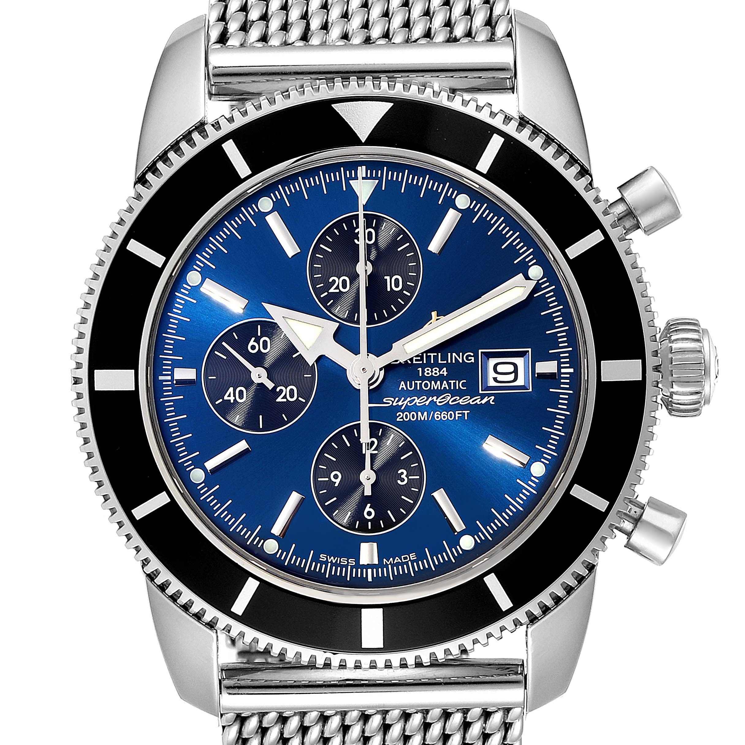 Photo of Breitling SuperOcean Heritage Chronograph 46 Blue Dial Watch A13320 Box Papers