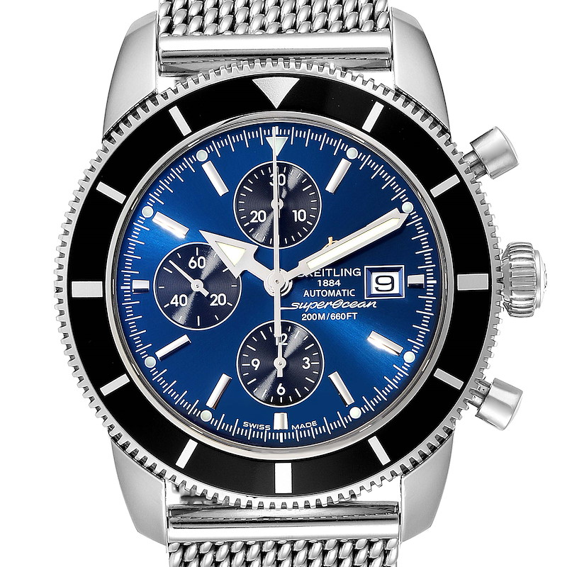 Breitling SuperOcean Heritage Chronograph 46 Blue Dial Watch A13320 Box Papers SwissWatchExpo
