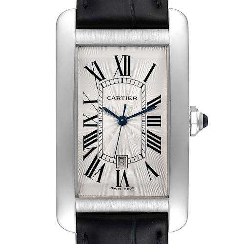 Photo of Cartier Tank Americaine 18K White Gold Large Silver Dial Mens Watch W2603256