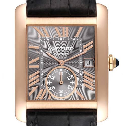 Photo of Cartier Tank MC Rose Gold Grey Dial Black Strap Mens Watch W5330002