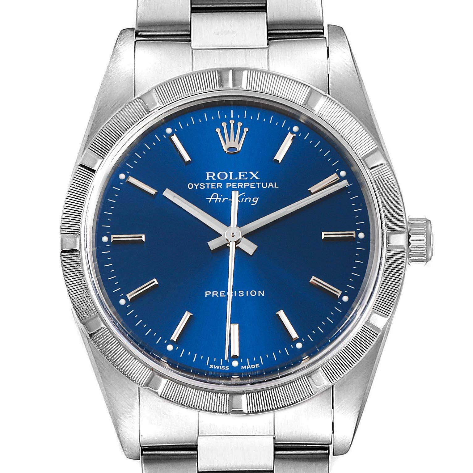 Rolex Air King 34mm Blue Dial Oyster Bracelet Mens Watch 14010 SwissWatchExpo