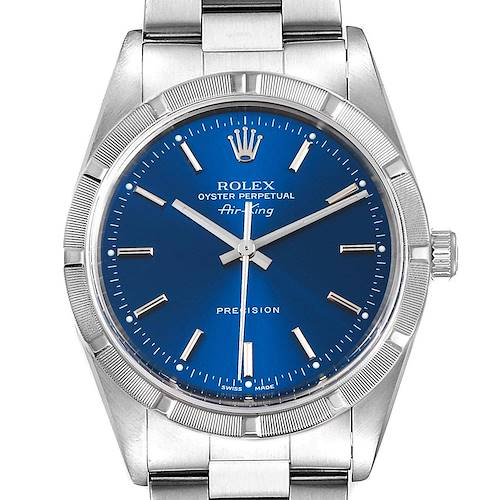 Photo of Rolex Air King 34mm Blue Dial Oyster Bracelet Mens Watch 14010