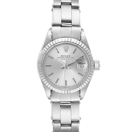 Photo of Rolex Date Steel White Gold Oyster Bracelet Silver Dial Ladies Watch 6917
