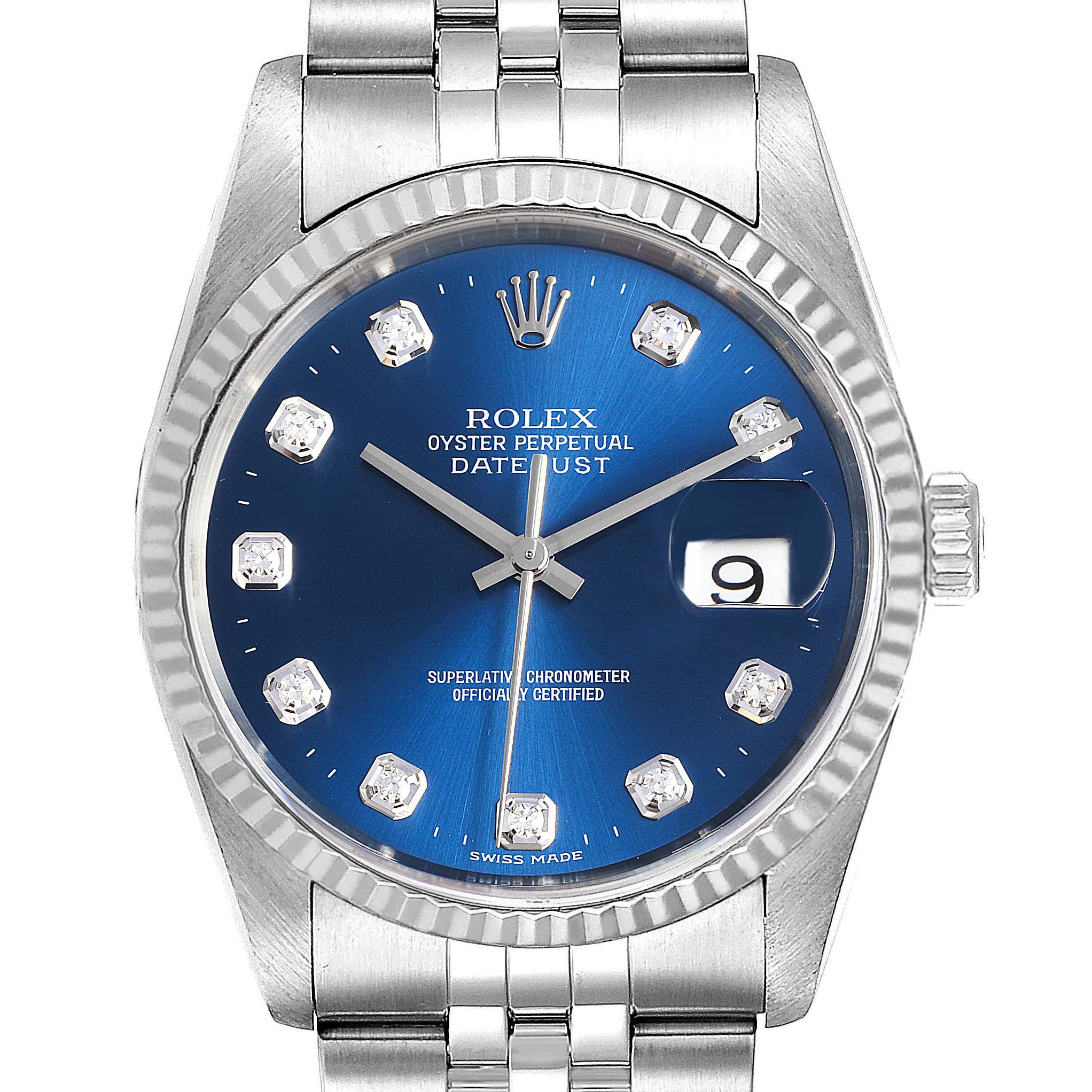 Photo of Rolex Datejust 36 Steel White Gold Blue Diamond Dial Mens Watch 16234