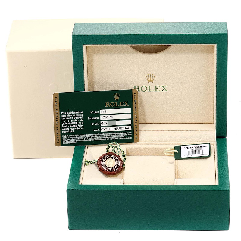 Rolex Datejust Steel White Gold Diamond Ladies Watch 179174 Box Papers SwissWatchExpo