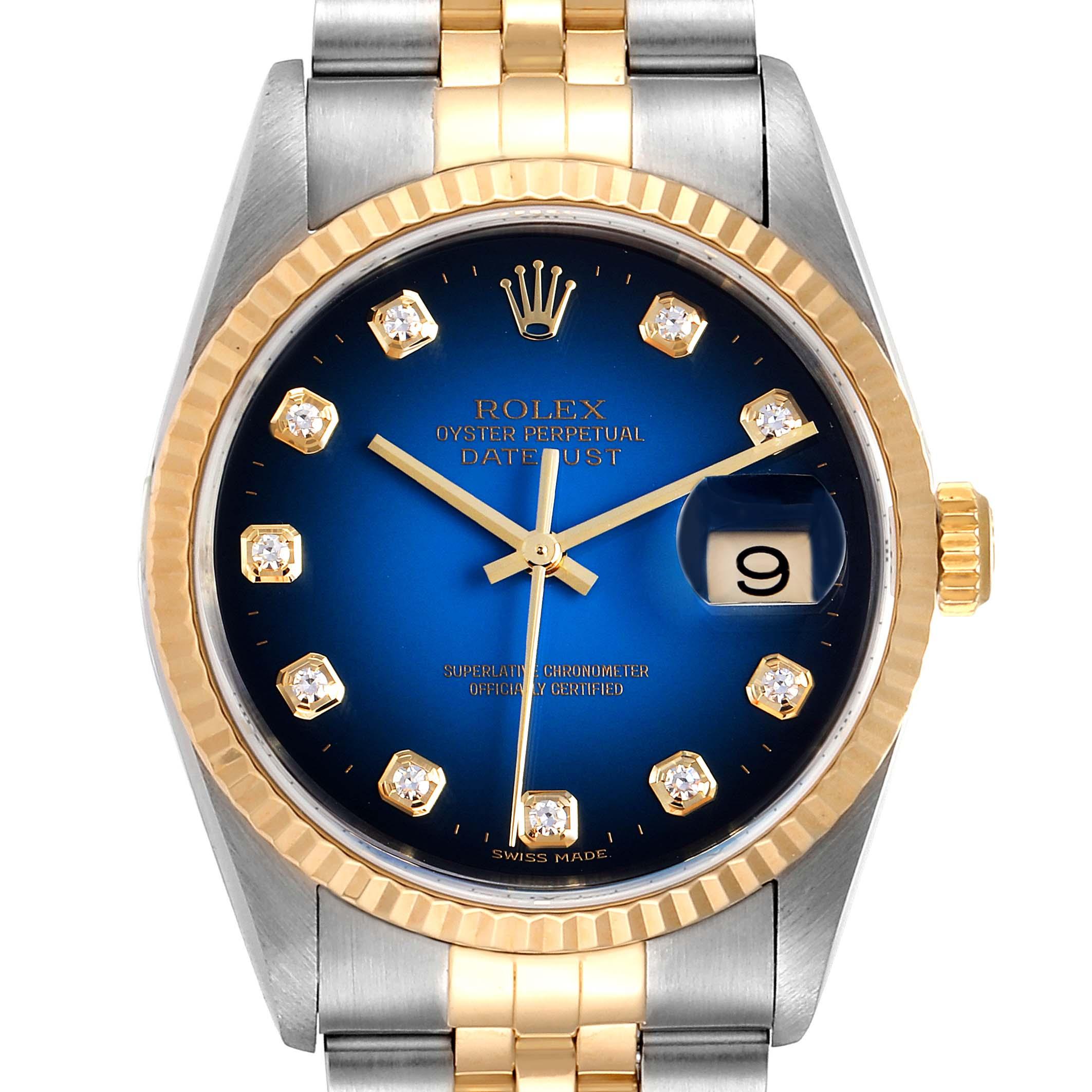 Photo of Rolex Datejust Steel Yellow Gold Diamond Vignette Dial Mens Watch 16233