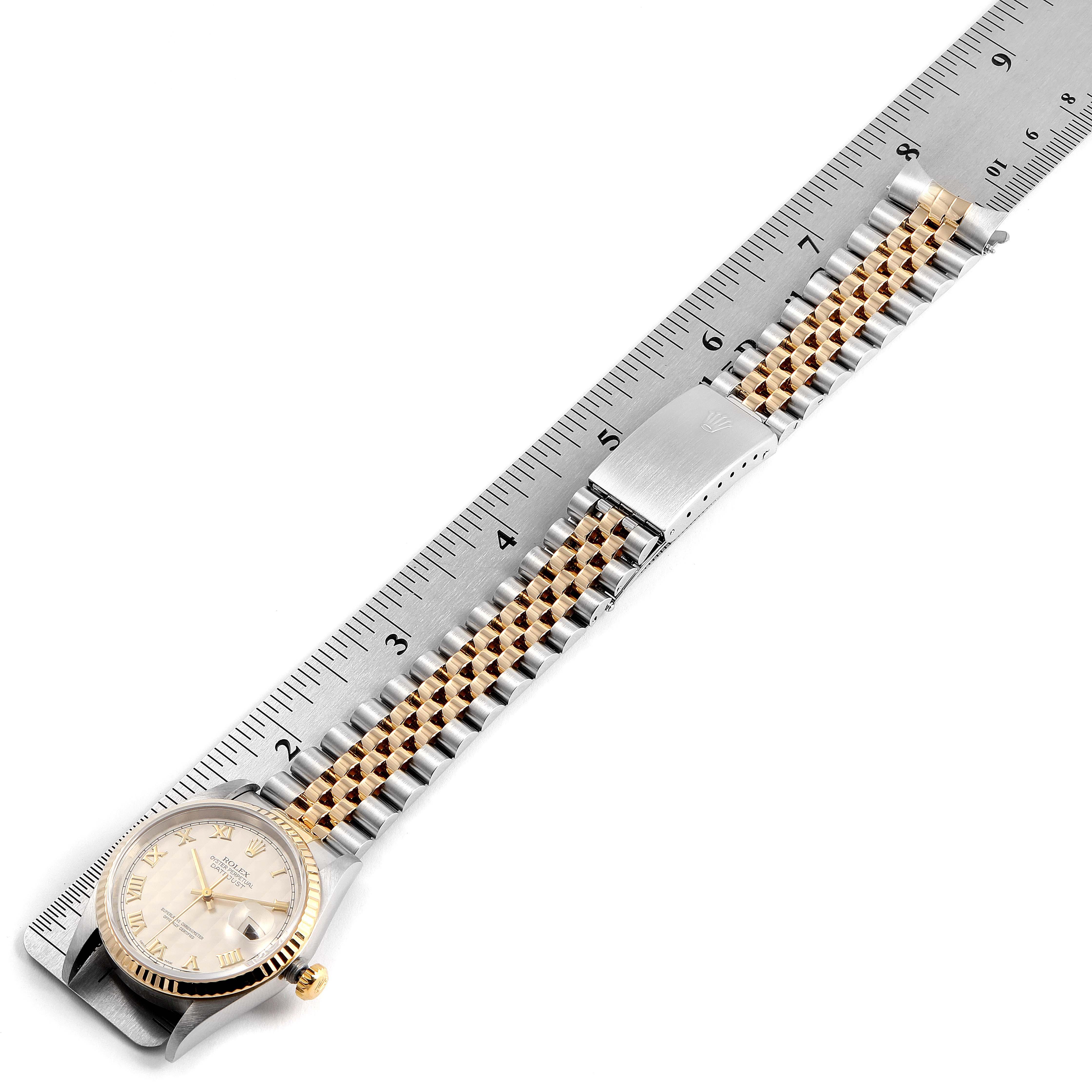 Rolex Datejust Steel Yellow Gold Pyramid Roman Dial Mens Watch 16233 SwissWatchExpo