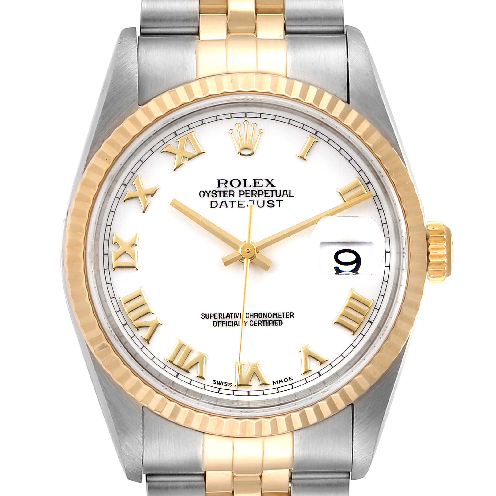 Photo of Rolex Datejust Steel Yellow Gold White Roman Dial Mens Watch 16233 Papers