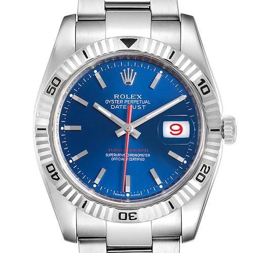 Photo of Rolex Datejust Turnograph Blue Dial Steel Mens Watch 116264 Box