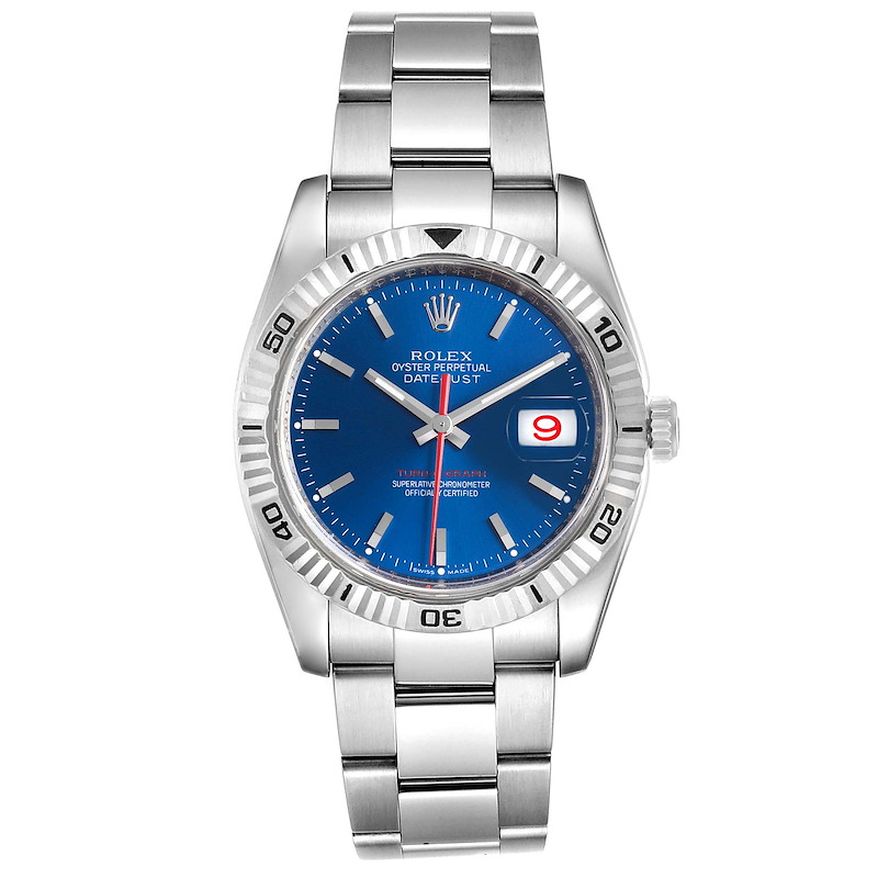 Rolex Datejust Turnograph Blue Dial Steel Mens Watch 116264 Box SwissWatchExpo