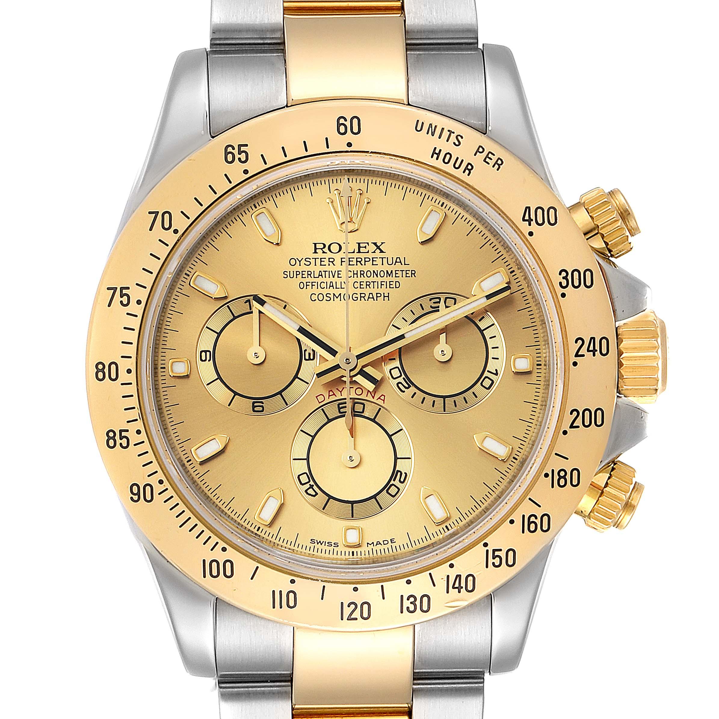 Rolex Daytona Steel 18K Yellow Gold Mens Watch 116523 Box Papers SwissWatchExpo