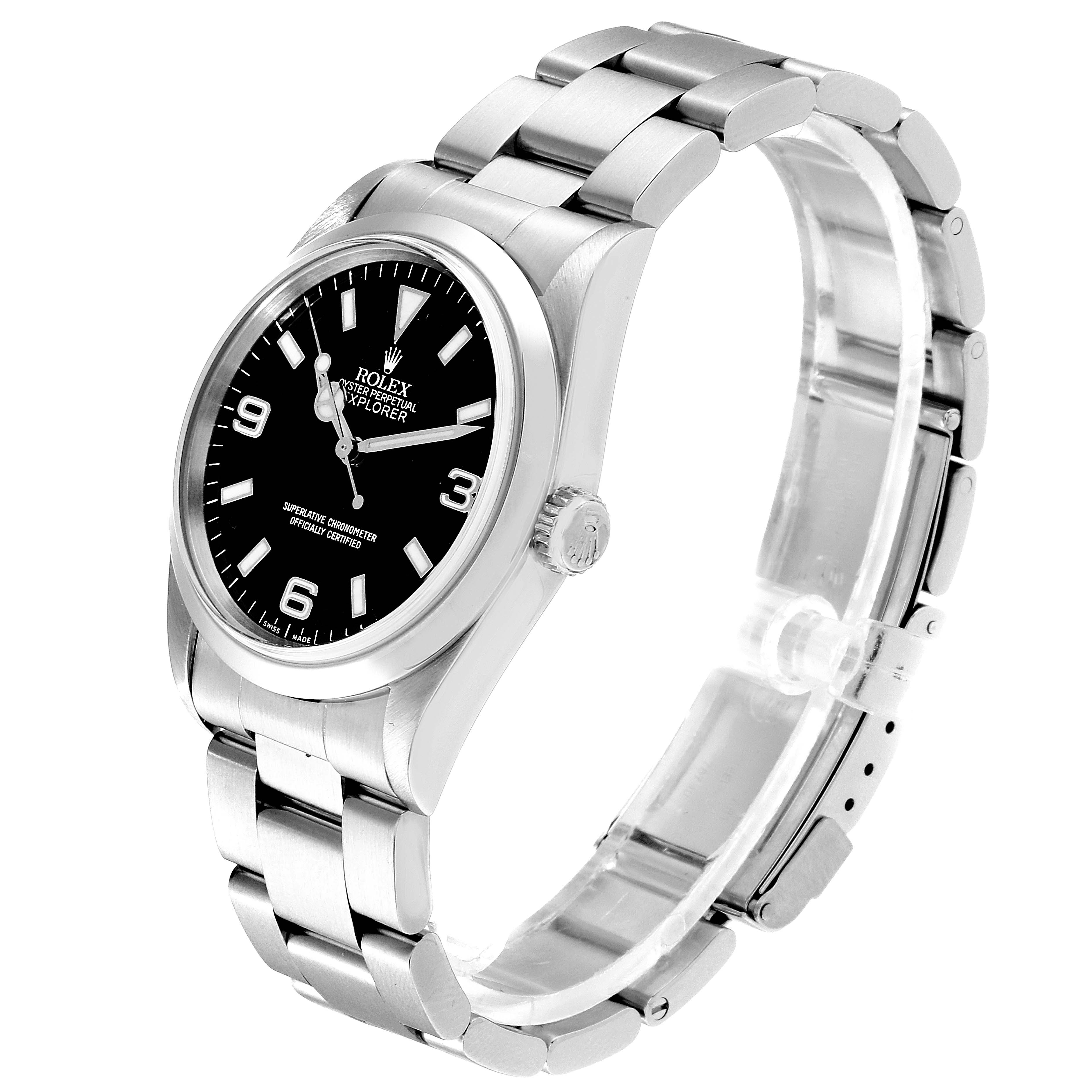 Rolex Explorer I Black Dial Stainless Steel Mens Watch 114270 SwissWatchExpo