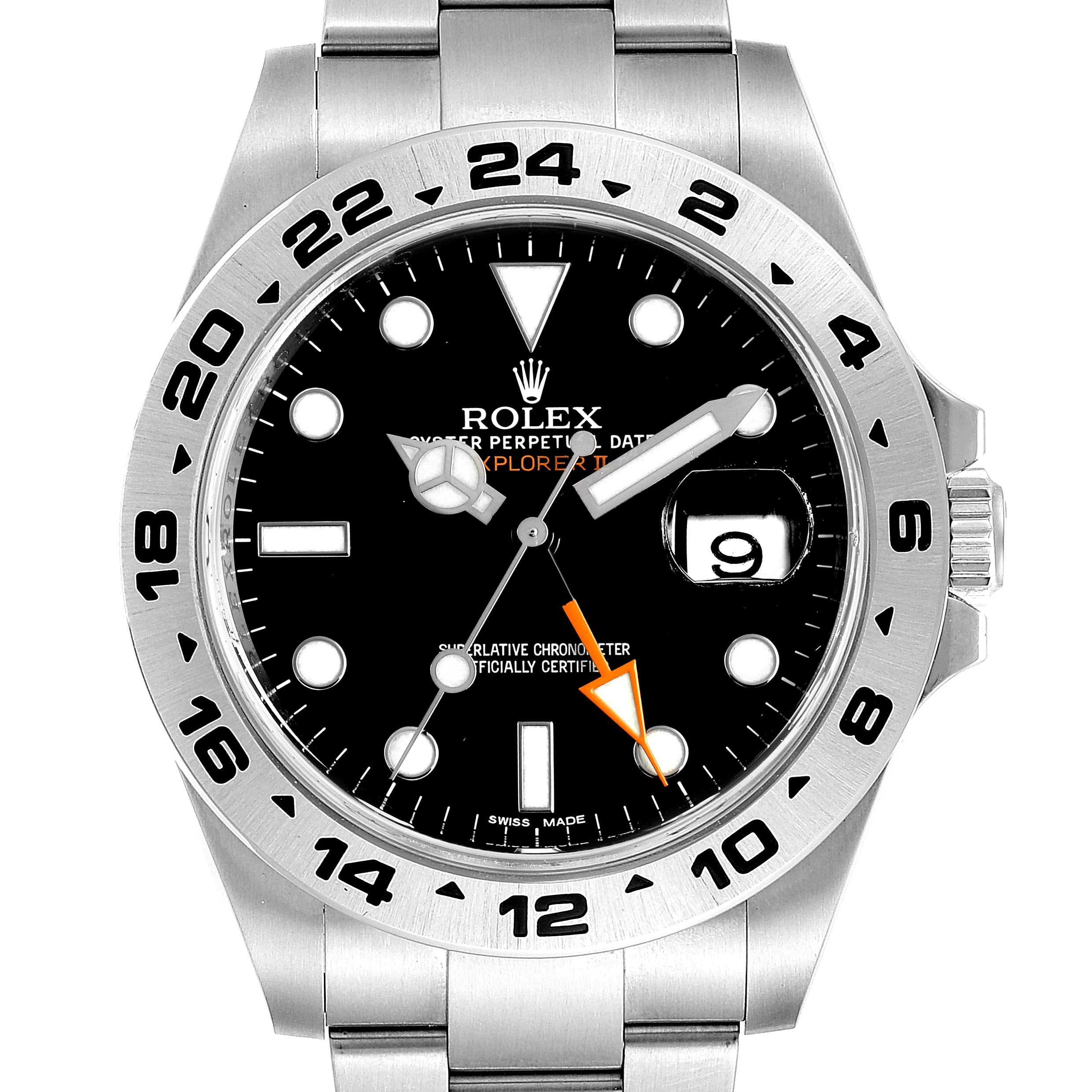 Photo of Rolex Explorer II 42 Black Dial Orange Hand Steel Mens Watch 216570