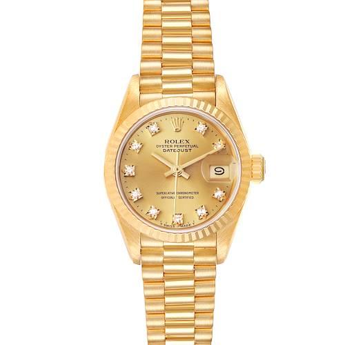 Photo of Rolex President Datejust Yellow Gold Diamond Dial Ladies Watch 69178