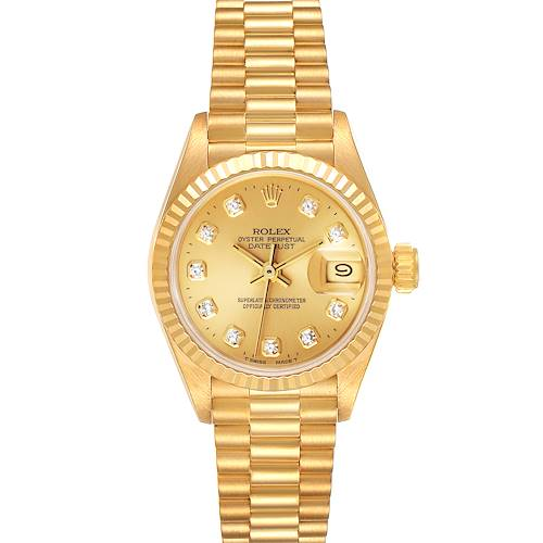Photo of Rolex President Datejust Yellow Gold Diamond Dial Ladies Watch 69178 Papers