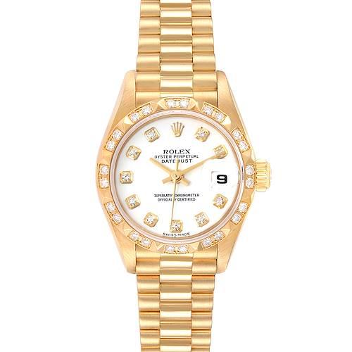 Photo of Rolex President Datejust Yellow Gold White Dial Diamond Ladies Watch 79258