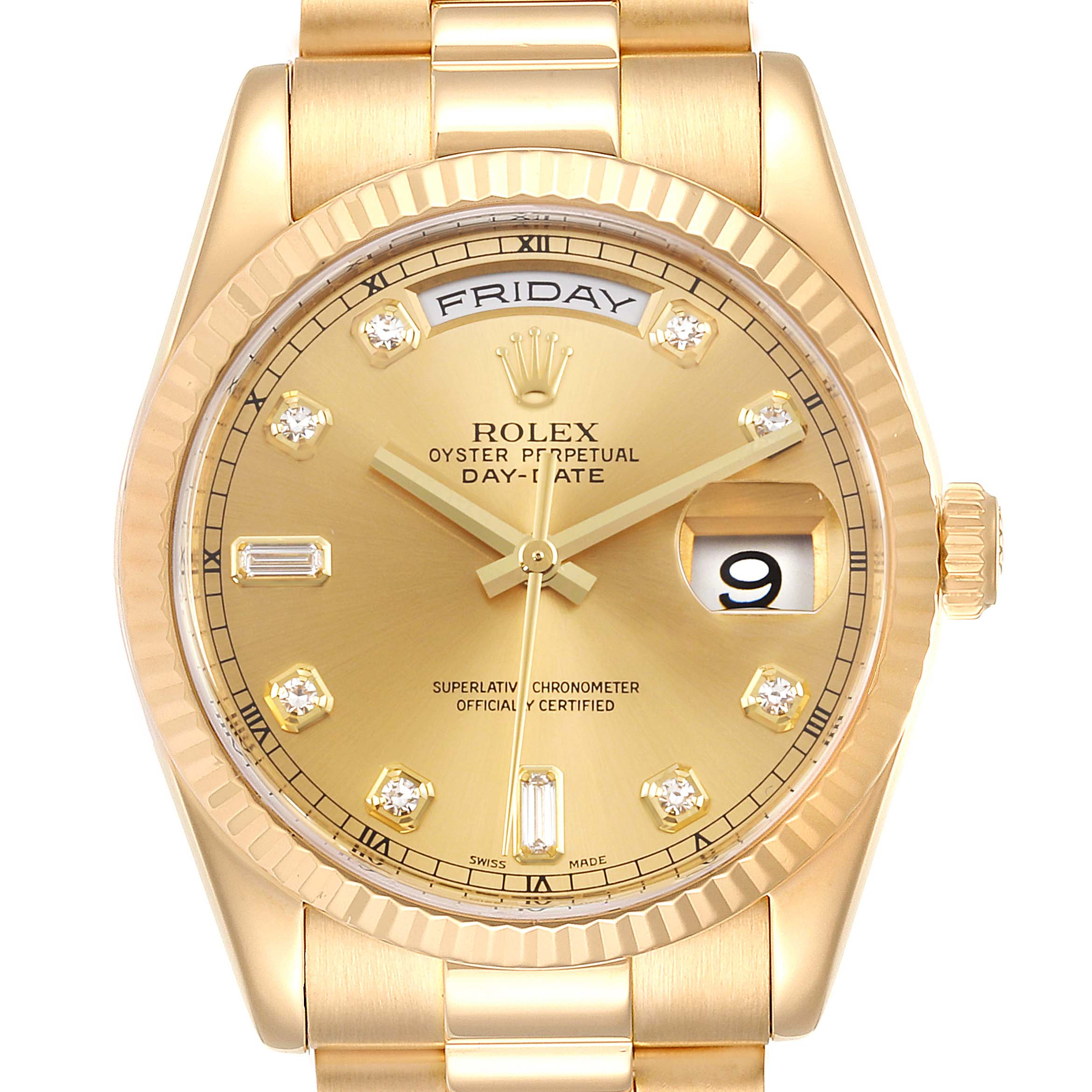 Photo of Rolex President Day Date Yellow Gold Diamond Mens Watch 118238 Box