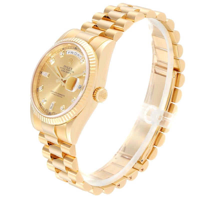 Rolex President Day Date Yellow Gold Diamond Mens Watch 118238 Box SwissWatchExpo