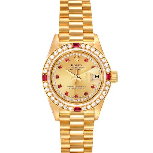 Photo of Rolex President Yellow Gold String Dial Diamond Ruby Ladies Watch 69068
