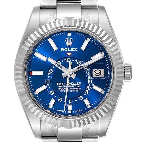 Photo of Rolex Sky-Dweller Blue Dial Steel White Gold Mens Watch 326934 Box Card Unworn