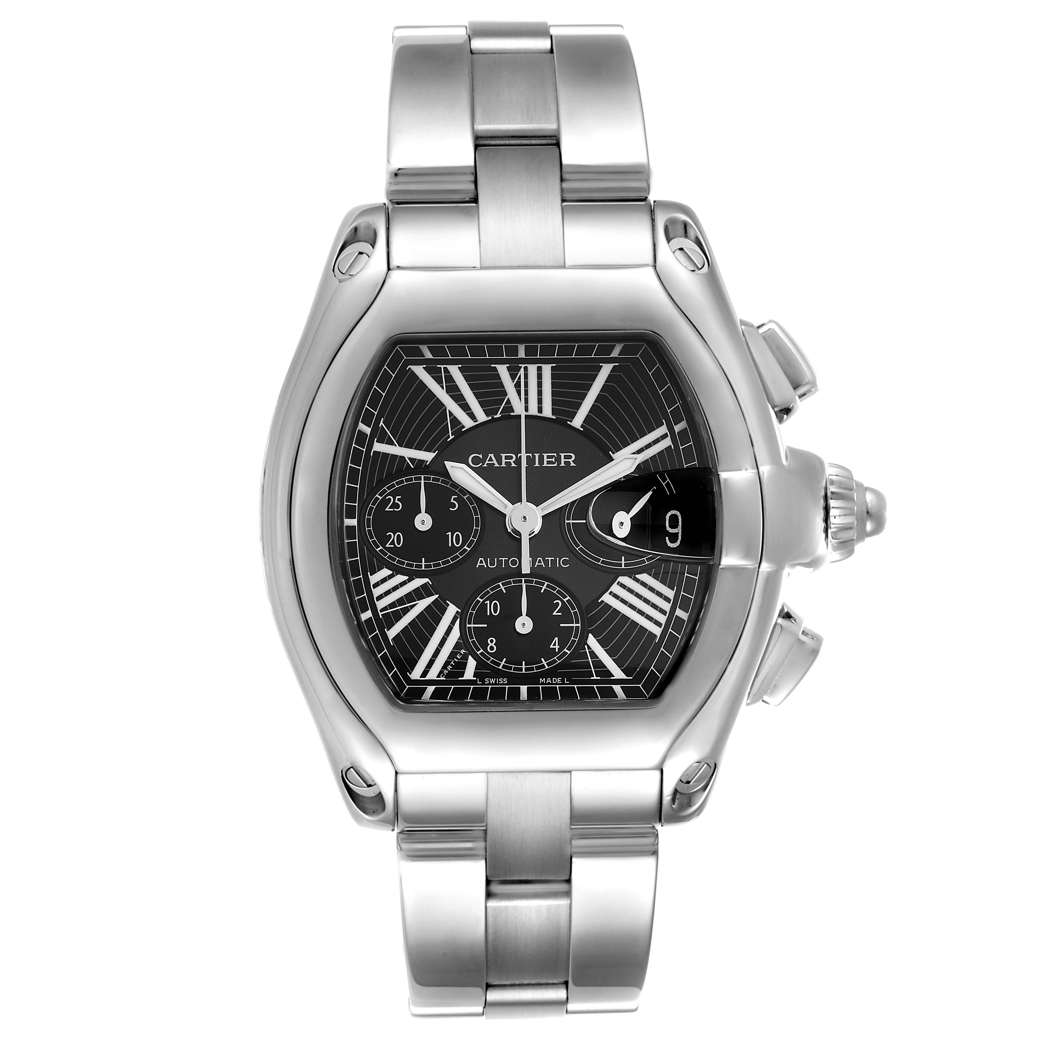 Cartier Roadster XL Chronograph Black Dial Mens Watch W62020X6 Box Papers SwissWatchExpo