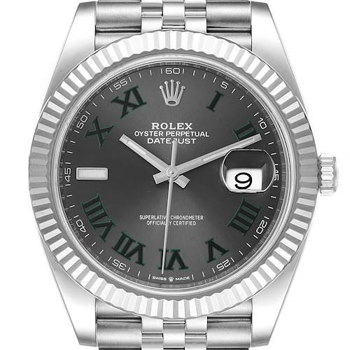 Photo of Rolex Datejust 41 Steel White Gold Green Numerals Mens Watch 126334 Unworn