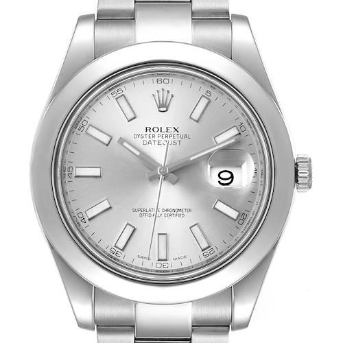 Photo of Rolex Datejust II 41mm Silver Baton Dial Steel Mens Watch 116300