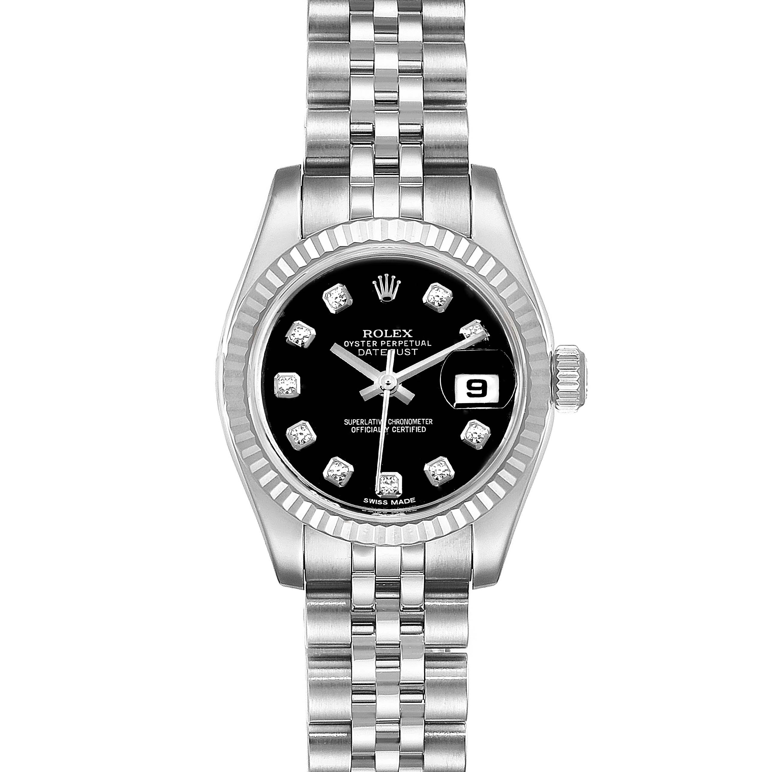 Rolex Datejust Steel White Gold Diamond Ladies Watch 179174 Box SwissWatchExpo