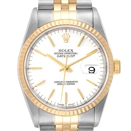 Photo of Rolex Datejust Steel Yellow Gold White Dial Mens Watch 16233