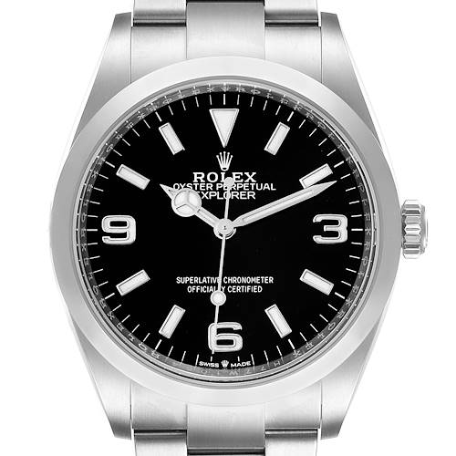 Photo of Rolex Explorer I Black Dial Stainless Steel Mens Watch 124270 Unworn