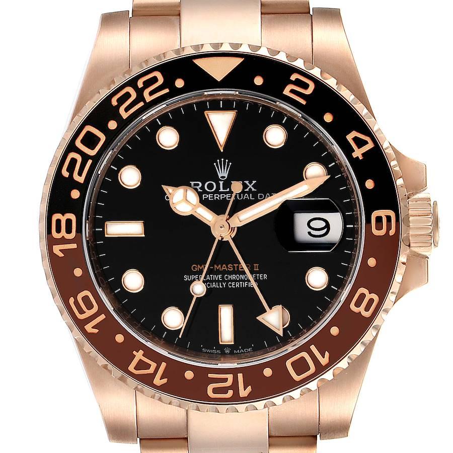 Rolex GMT Master II Everose Gold Black Dial Mens Watch 126715 Unworn SwissWatchExpo