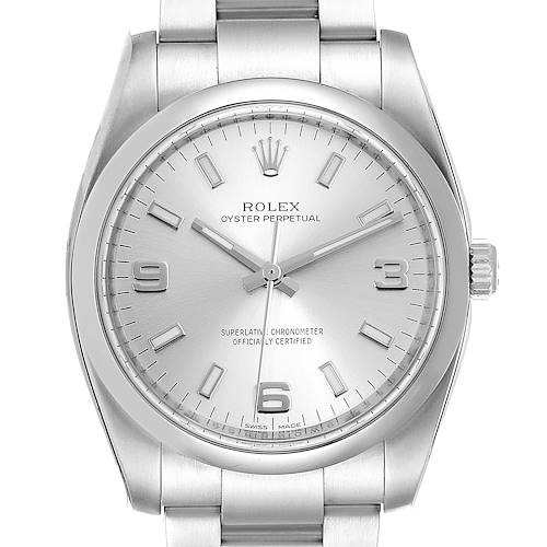 Photo of Rolex Oyster Perpetual Silver Dial Steel Mens Watch 114200 Unworn