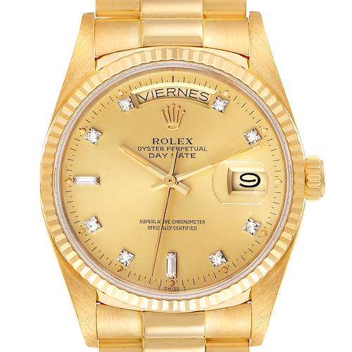 Photo of Rolex President Day-Date 18k Yellow Gold Diamond Mens Watch 18038 Box Papers