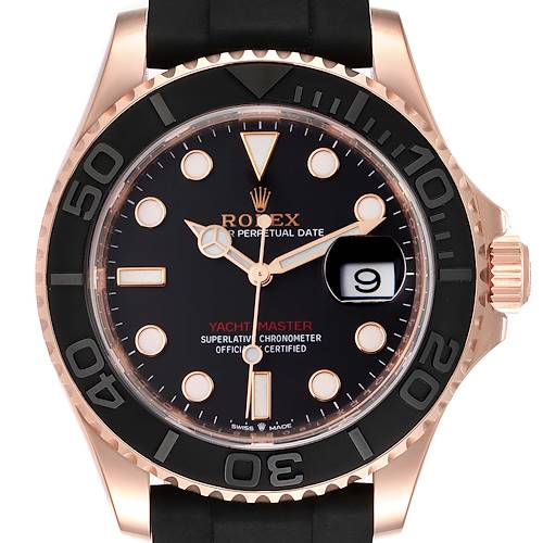 Photo of Rolex Yachtmaster 40mm Everose Gold Rubber Strap Mens Watch 126655