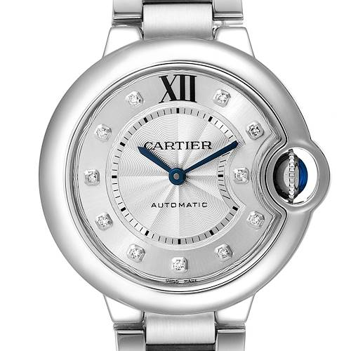 Photo of Cartier Ballon Bleu 33mm Automatic Diamond Steel Watch WE902074 Box Papers