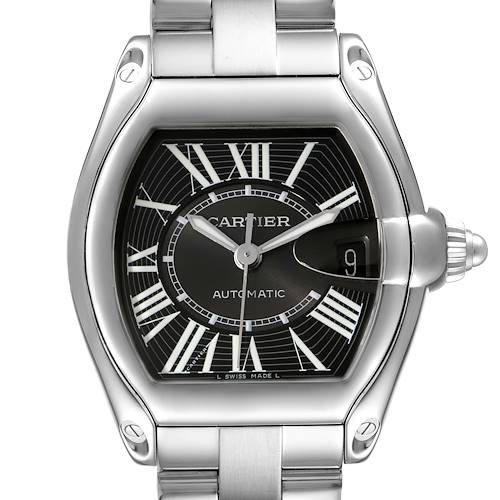 Photo of Cartier Roadster Black Dial Large Steel Mens Watch W62041V3 Box Papers