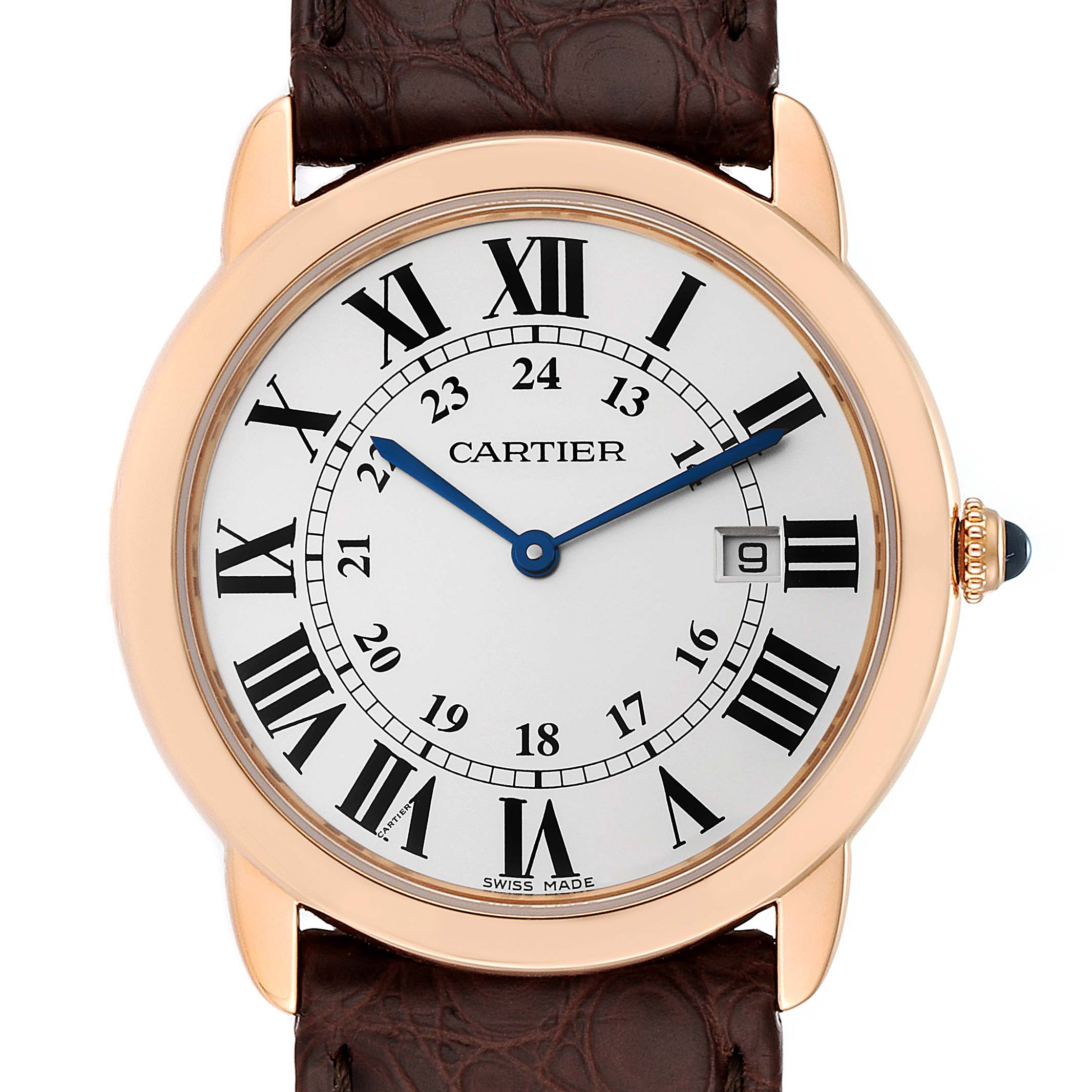 Photo of Cartier Ronde Solo Large Rose Gold Steel Mens Watch W6701008 Box Papers