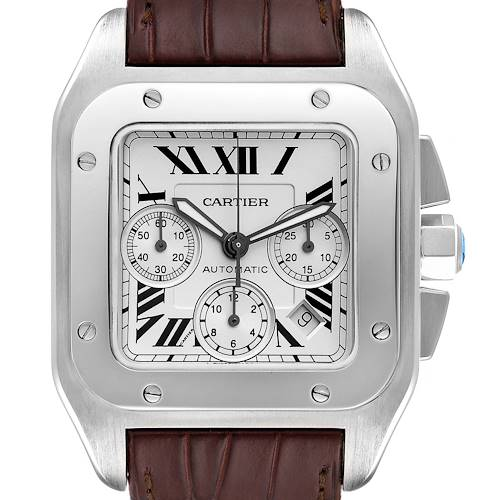 Photo of Cartier Santos 100 XL Silver Dial Chronograph Watch W20090X8 Box Papers