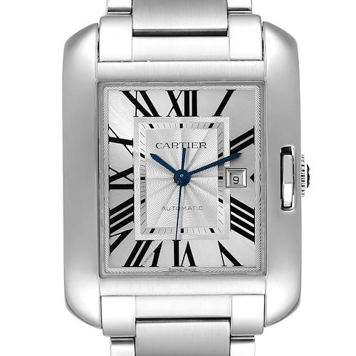 Photo of Cartier Tank Anglaise Silver Dial Steel Large Mens Watch W5310009