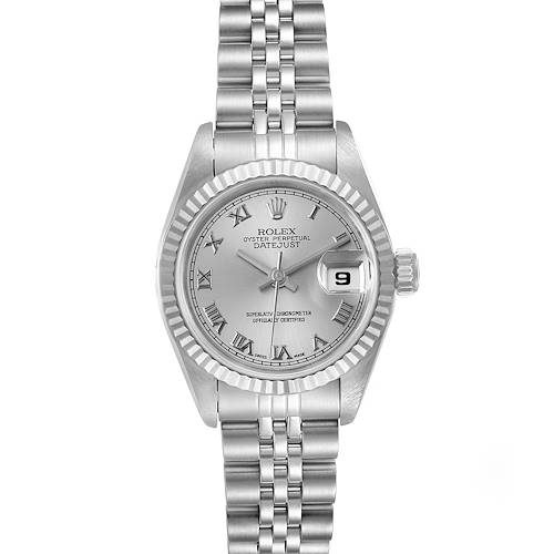 Photo of Rolex Datejust 26 Steel White Gold Silver Roman Dial Ladies Watch 69174