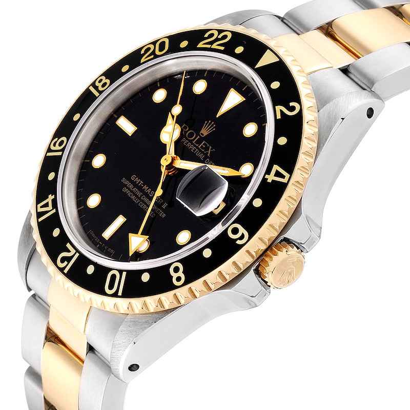 Rolex GMT Master II Yellow Gold Steel Oyster Bracelet Mens Watch 16713 SwissWatchExpo