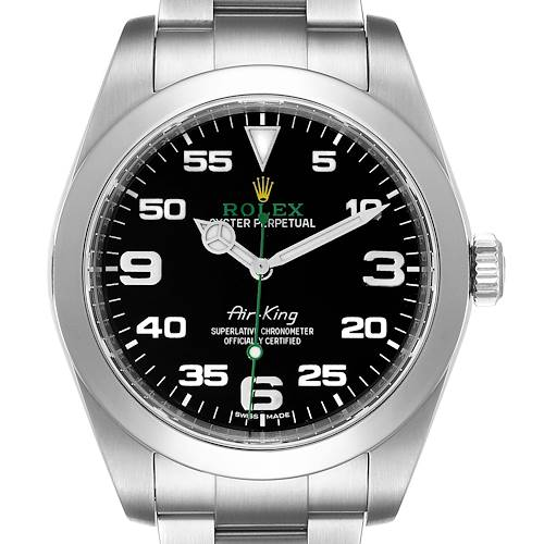 Photo of Rolex Oyster Perpetual Air King 40mm Green Hand Steel Mens Watch 116900