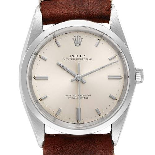 Photo of Rolex Oyster Perpetual Silver Dial Vintage Steel Mens Watch 1018