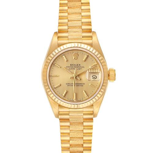 Photo of Rolex President Datejust 18K Yellow Gold Tapestry Dial Ladies Watch 69178